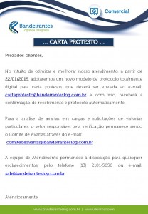Comunicado - novo e-mail carta protesto